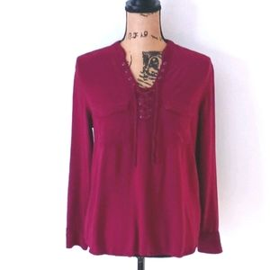 Rock & Republic Maroon Burgundy Tie Up Shirt M